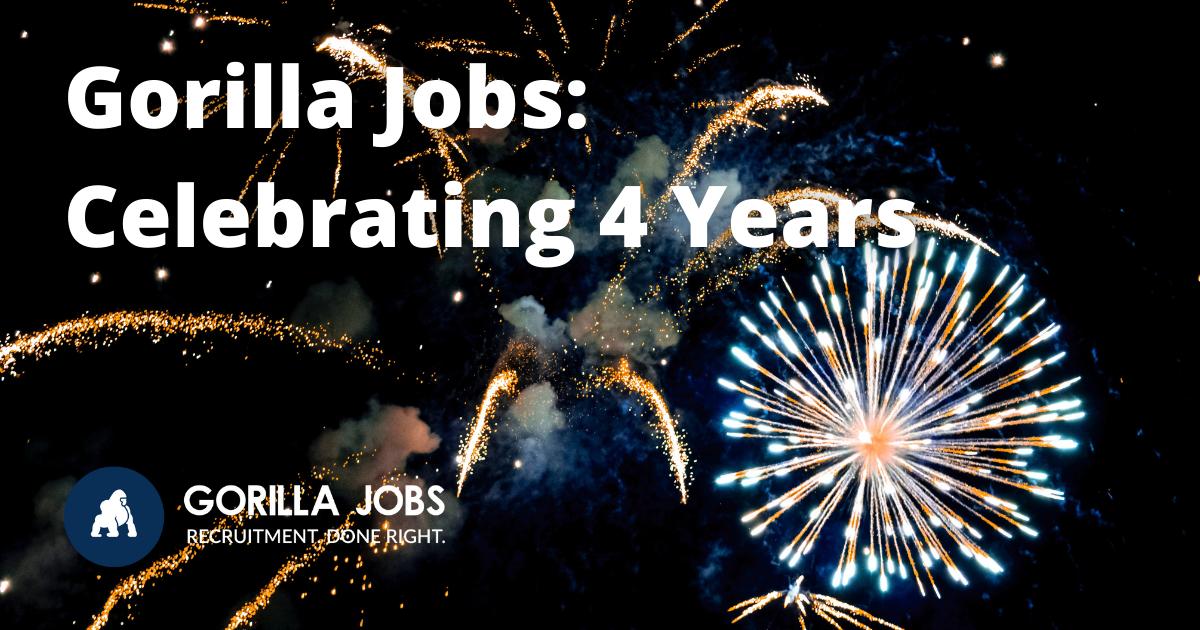 Gorilla Jobs Blog Celebrating 4 Years Pretty Display of Fireworks In Night Sky